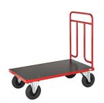 Platåvagn, rödlackerat stål